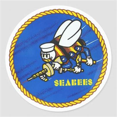 Navy Seabee Seabees Round Sticker Embroidery Classic