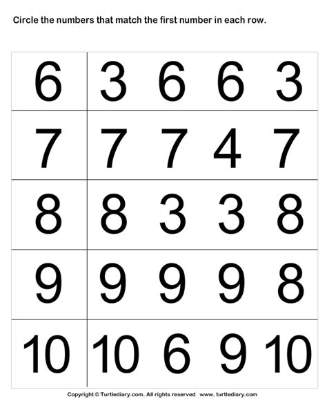 Identify Numbers Worksheet  Turtle Diary