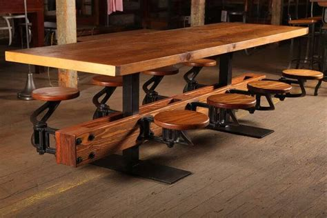 Industrial Swing  Seat Restaurant Dining Table
