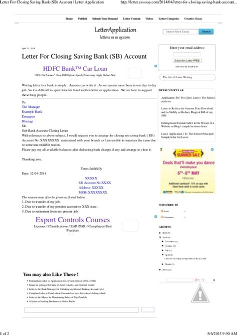 letter  closing saving bank sb account letter application
