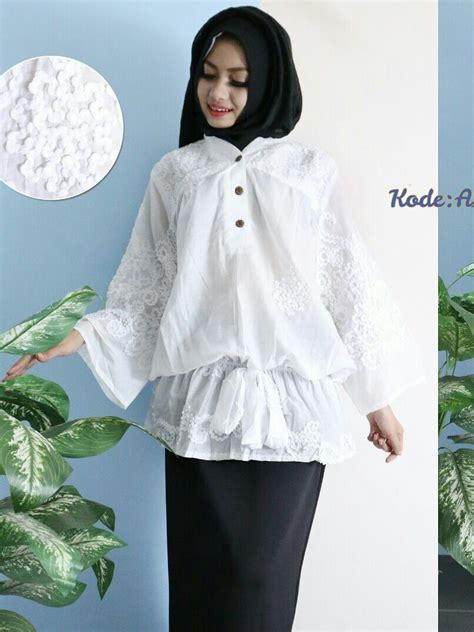 tunik rempel white blouse a115 baju style ootd