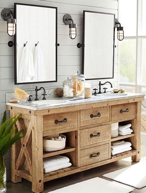 Pottery Barn Bathroom Cabinets by Rustic Master Bathroom With Inset Cabinets Pottery Barn