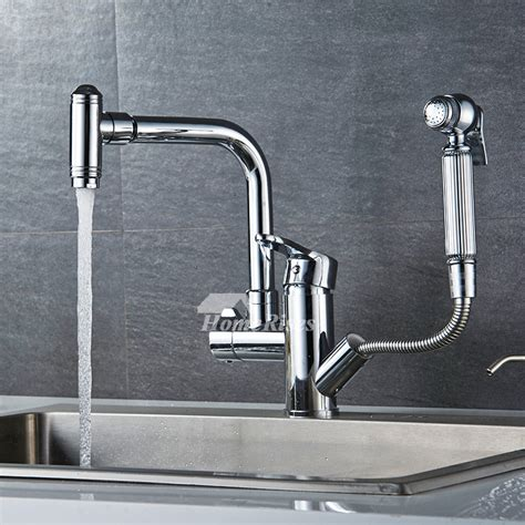 commercial kitchen faucets with sprayer centerset silver