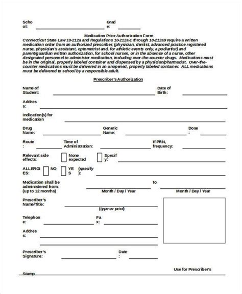 child care medication authorization form authorization forms in doc