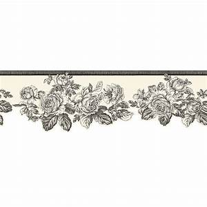 The Wallpaper Company 5.75 in. x 15 ft. Black and White ...