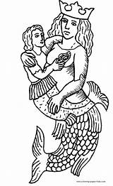 Coloring Merman Pages Mermaid Mermaids Printable Fantasy Medieval Sheets Template H2o Eric Found sketch template