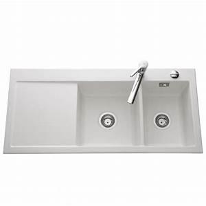 Evier Cuisine Ceramique : evier c ramique blanc mat systemceram cleya 2 bacs ~ Premium-room.com Idées de Décoration