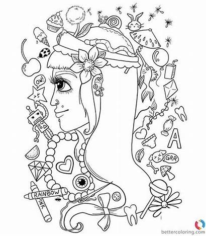 Hipster Coloring Pages Clipart Printable Adults
