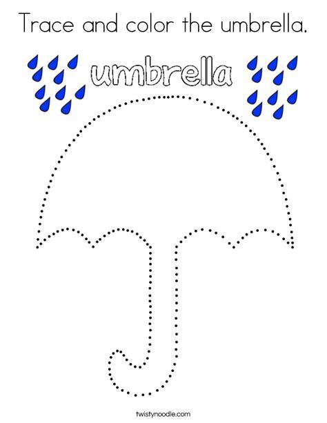 trace  color  umbrella coloring page twisty noodle