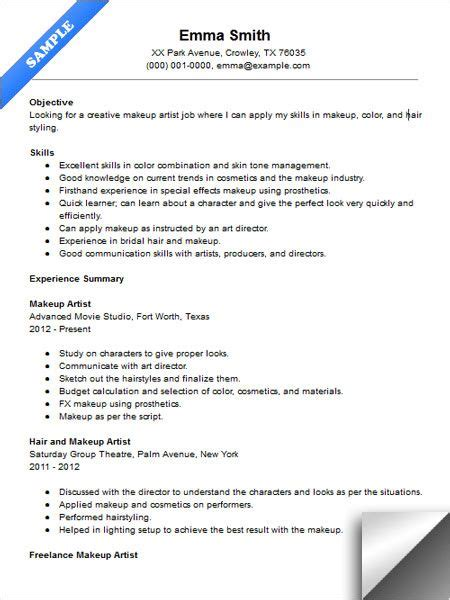 Cosmetology Resume Sles by Makeup Artist Resume Sle Resume Exles