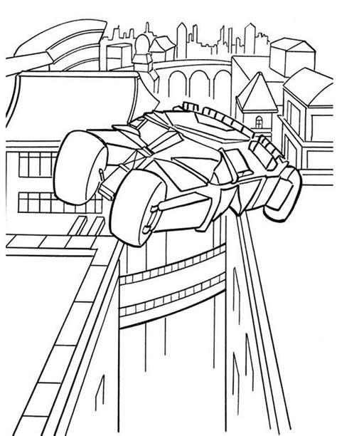 Kleurplaat Batmobiel by Kleuren Nu Batmobile Vliegt Boven Gotham City Kleurplaten