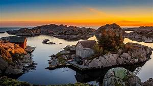 Norway, Sunrises, And, Sunsets, Lake, Houses, Crag, Bjerkreim, Rogaland, Nature, Wallpapers, Hd
