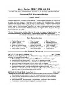 resume for insurance insurance manager resume exle