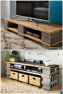 diy cinder block tv stand console 10 diy concrete block With homemade tv furniture