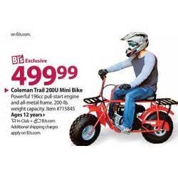 coleman trail 200u mini bike at bj 39 s wholesale books 2013