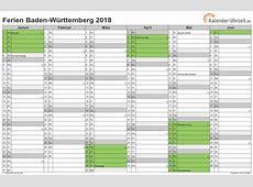 Ferien BadenWürttemberg 2018 Ferienkalender zum Ausdrucken
