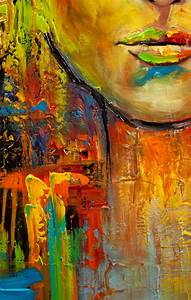 Painting - colorful portrait painting modern palette knife