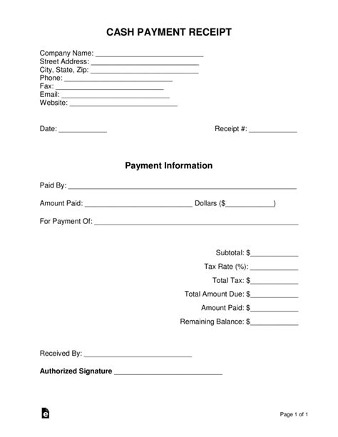 free payment receipt template pdf word eforms
