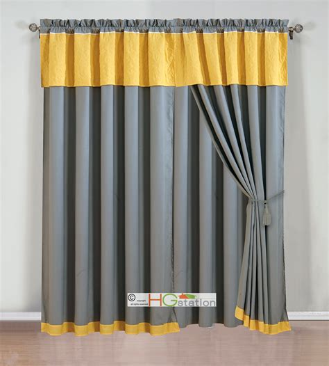 White And Silver Valance by 4 Pc Quilted Vineyard Floral Leaves Curtain Set Yellow