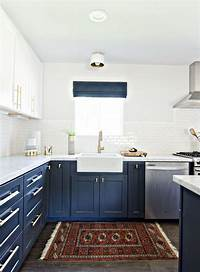 blue and white kitchen Stylish Two Tone Kitchen Cabinets for Your Inspiration ...