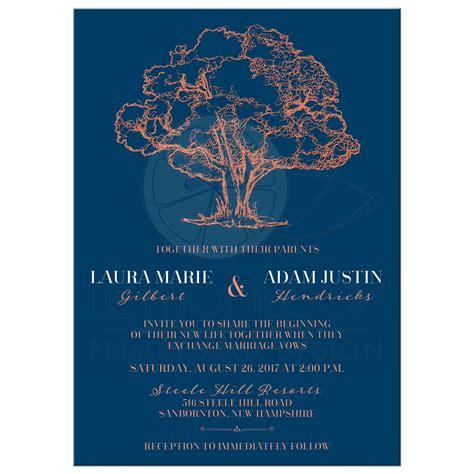 modern tree illustration on navy blue wedding invitation faux copper foil