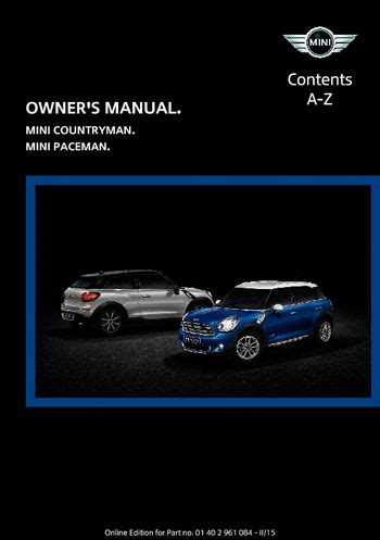 service repair manual free download 2011 mini countryman windshield wipe control download 2015 mini countryman owner s manual pdf 223 pages