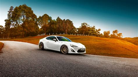 Car Background by Hd Background Toyota Gt 86 White Color Grass Sunset Car