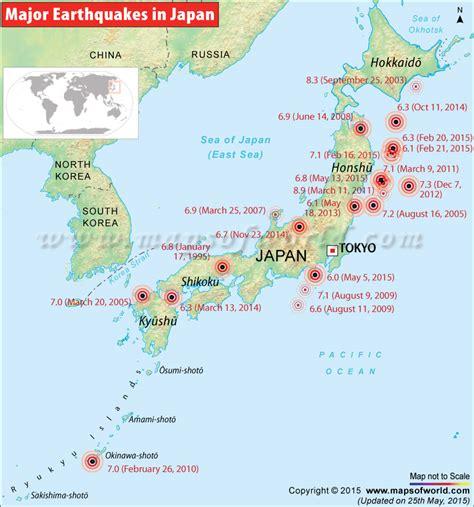 japan earthquakes map areas affected  earthquakes  japan