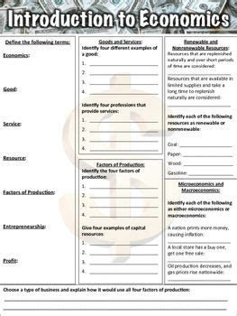 introduction to economics worksheet this free introduction to economics worksheet contains 32