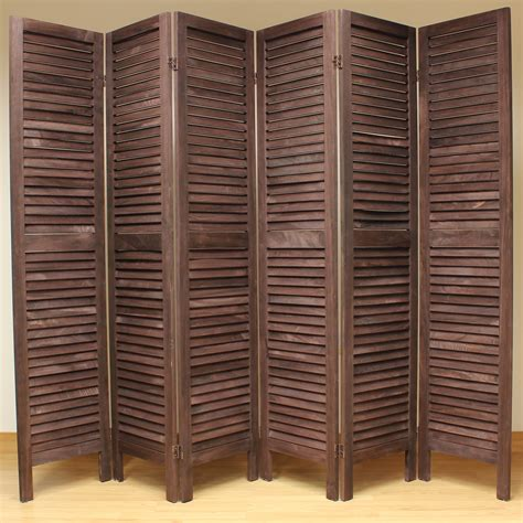 Brown 6 Panel Wooden Slat Room Divider Home Privacy Screen