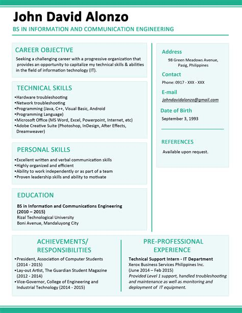 latest resume format 2017 philippines latest resume format sle in the philippines cover