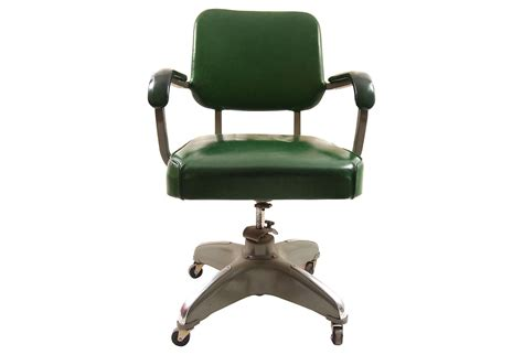 green leather mid century modern desk chair with arms and white metal swivel base also four