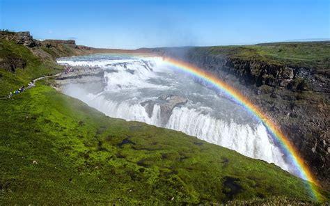 Gullfoss Waterfall Backgrounds by Gullfoss Waterfall With Rainbow In Iceland Wallpaper Hd