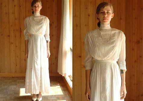 Antique 1910 Dress / Edwardian Lawn Dress / White Cotton
