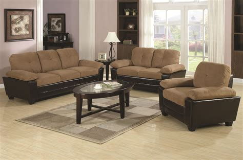 Microfiber And Loveseat Sets by Coaster 502921 502922 Brown Microfiber Sofa And