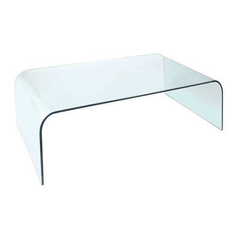 Arc Coffee Table  Durable Clear Glass  Curved Corners