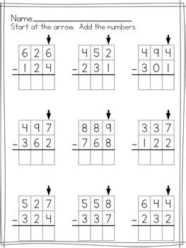 simple  digit subtraction worksheets  regrouping