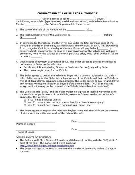 ca purchase agreement form 42 printable vehicle purchase agreement templates