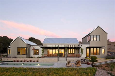 Victorian Kitchen Design Ideas - modern steel roof design exterior farmhouse with lap pool indoor outdoor sloped roof