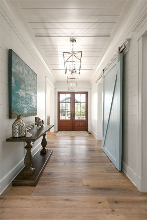 White Painted Shiplap by Benjamin Yarmouth Blue Shiplap Foyer Walls And Blue