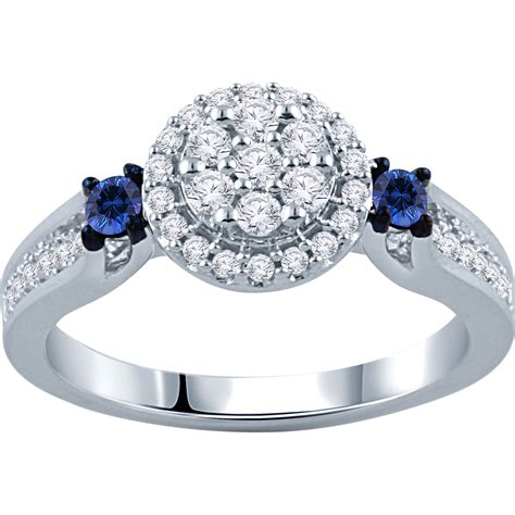 10k white gold 3 8 ctw and sapphire engagement ring engagement rings jewelry