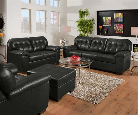soho onyx black contemporary tufted bonded leather living
