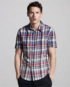 Lyst - Band Of Outsiders Faded Short-sleeve Madras Shirt ...