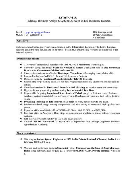 Insurance Domain Business Analyst Resume by Sathyavelu Lifeinsurancedomaintechnicalbusinessanalyst Resume