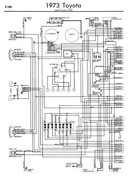 repair-manuals: Toyota Land Cruiser FJ55 1973 Wiring Diagrams