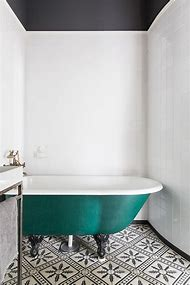 Vintage Black and White Bathroom Floor Tile