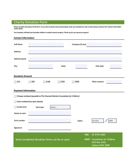 charitable donation form template 7 sle donation forms sle templates