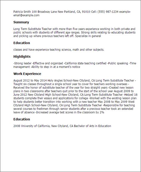 Term Substitute Resume by Professional Term Substitute Templates To Showcase Your Talent Myperfectresume