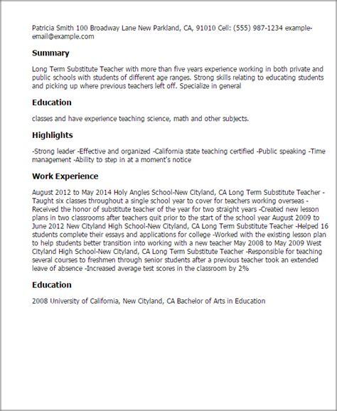 term substitute resume template best design