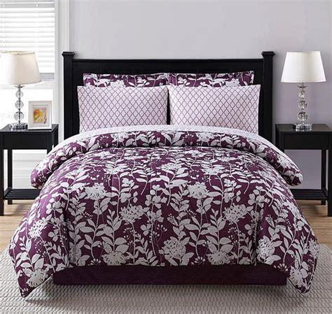 Purple White Floral Geometric 8 Piece Comforter Bedding